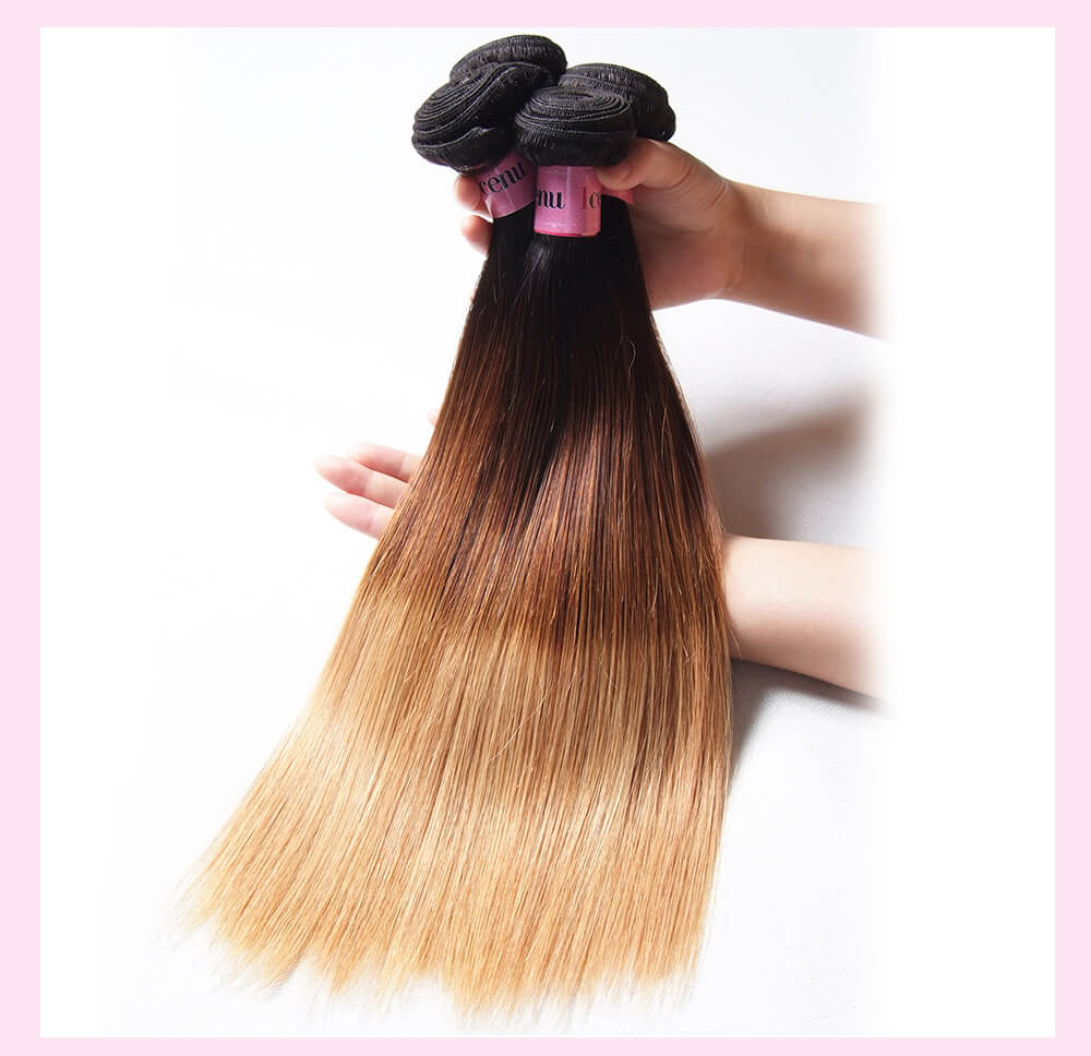 Three Tone Ombre Brazilian Straight Virgin Hair