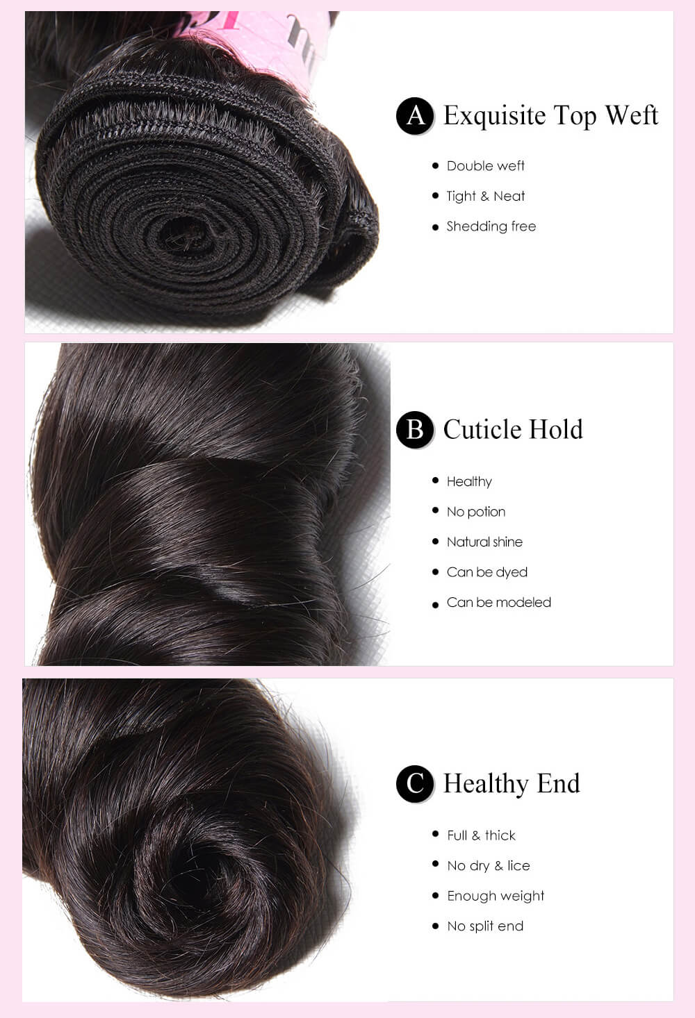 UNice 1PC Loose Wave Human Hair Extensions