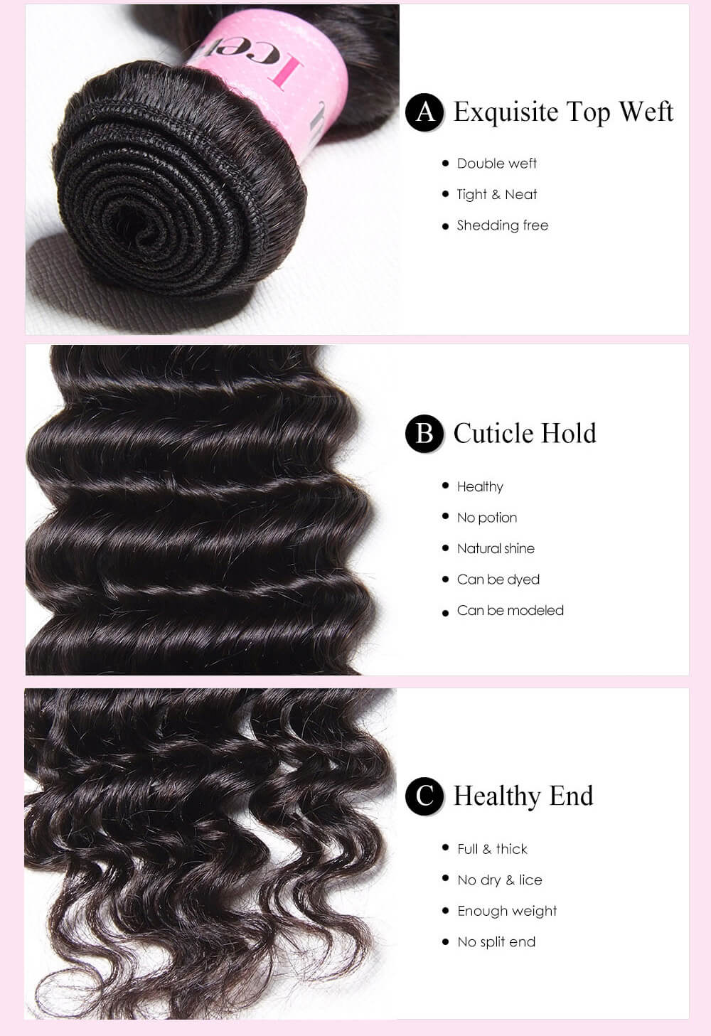 1PC Unprocessed Virgin Deep Wave Hair