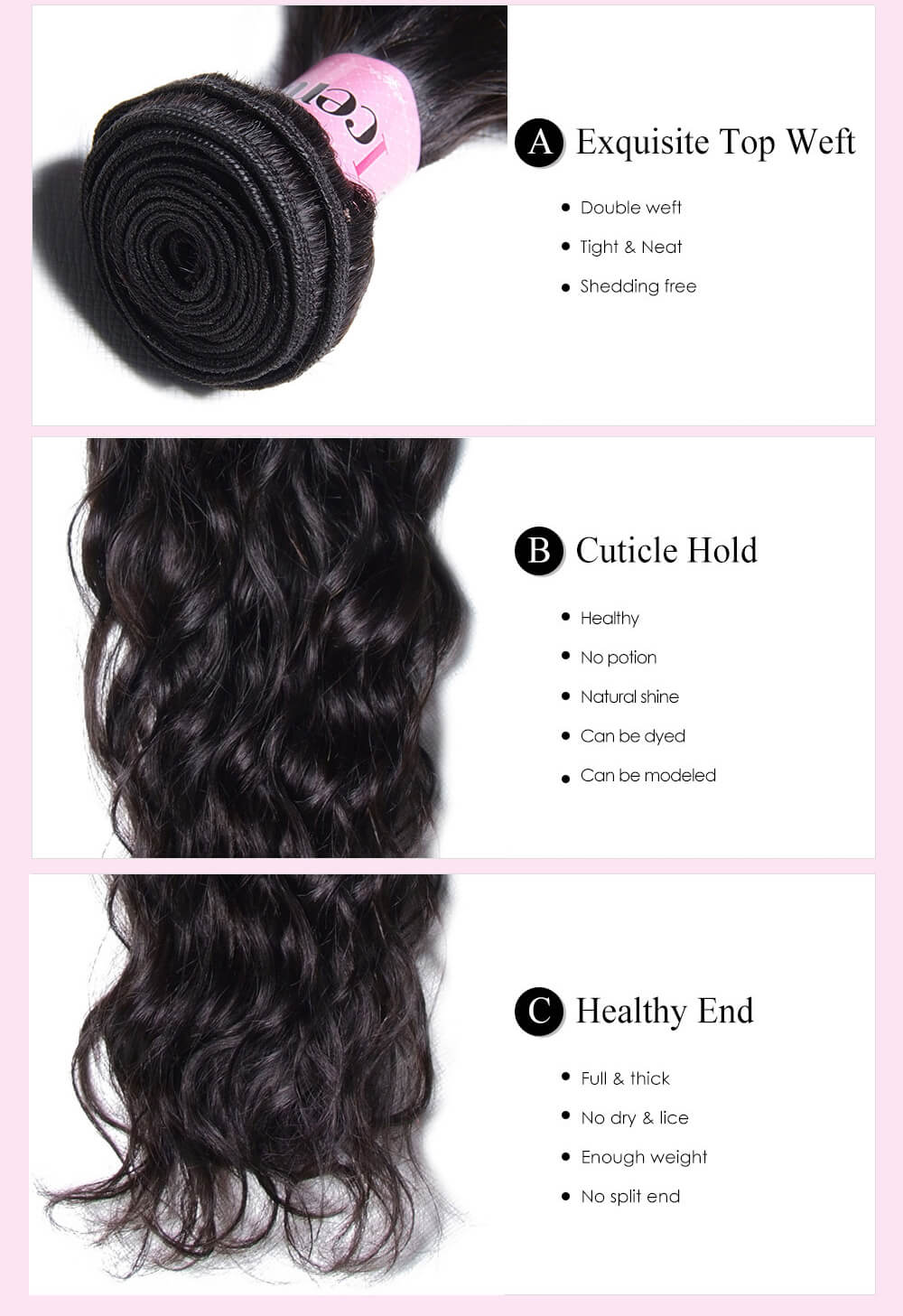 Virgin Hair Unprocessed Natural Wave Human Hair