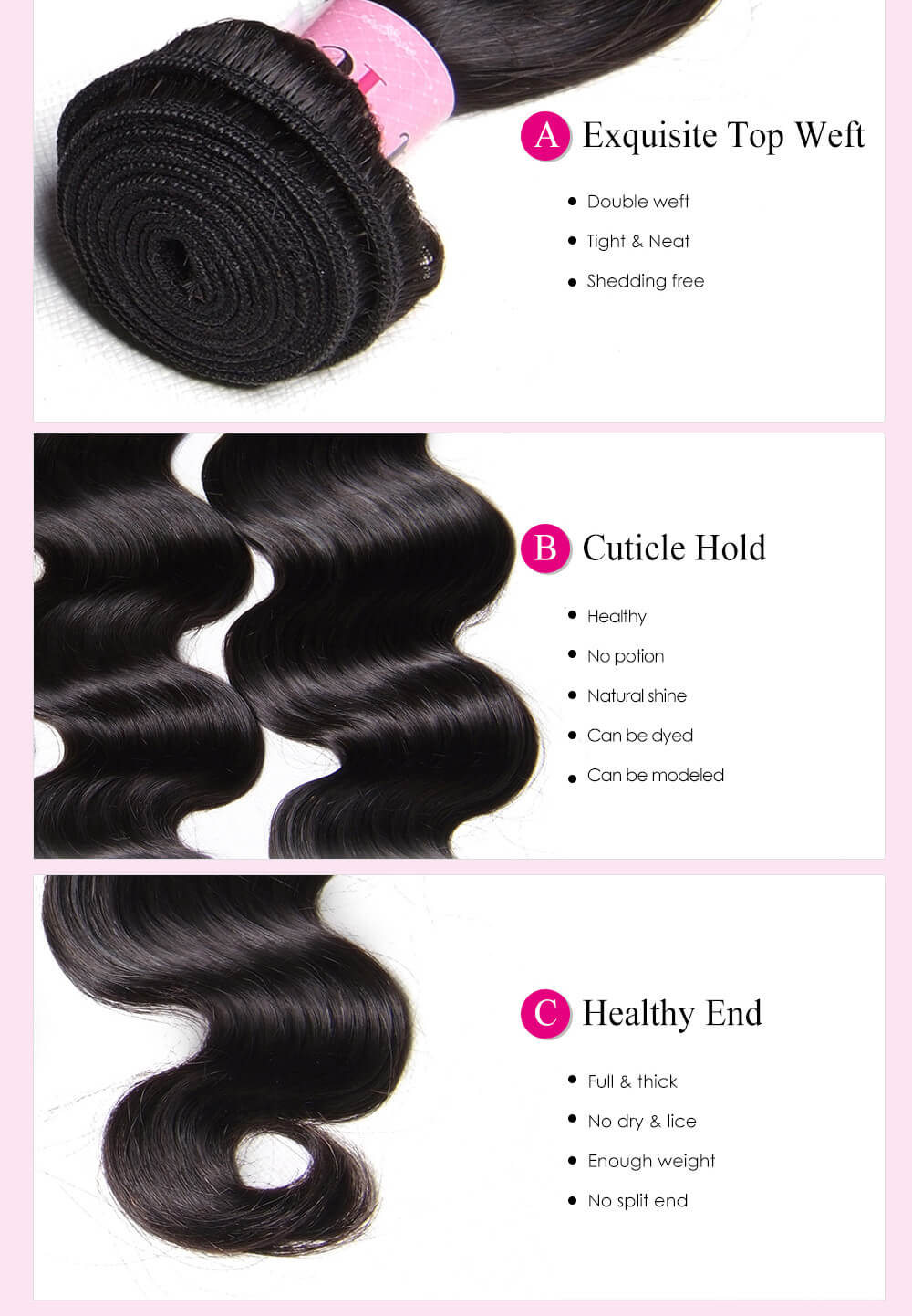 UNice Hair 100% Human Virgin Hair Body Wave