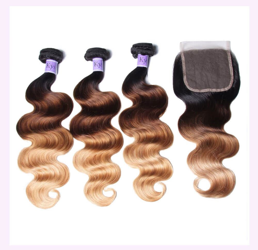 Unice kysiss T1B427 body wave 4 bundles hair with closure