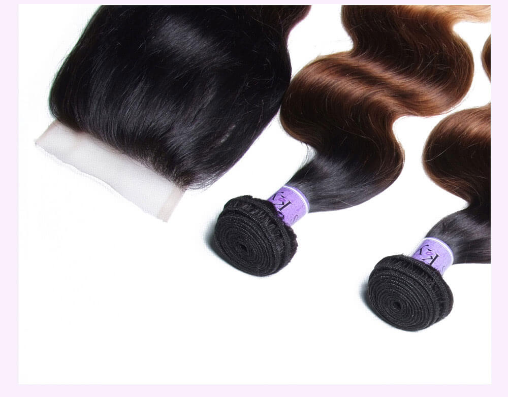 Unice kysiss T1B427 body wave 3 bundles hair with closure