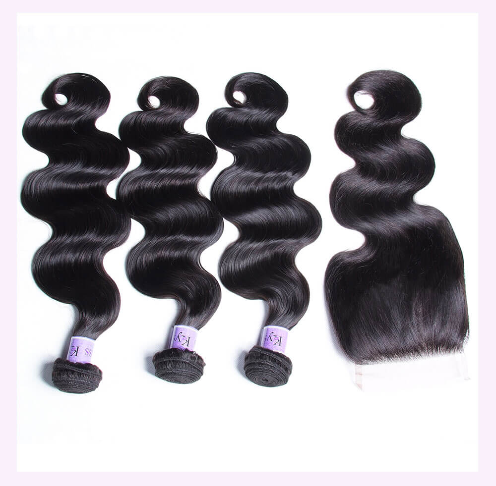 Unice kysiss Indian body wave 4 bundles hair with lace closure