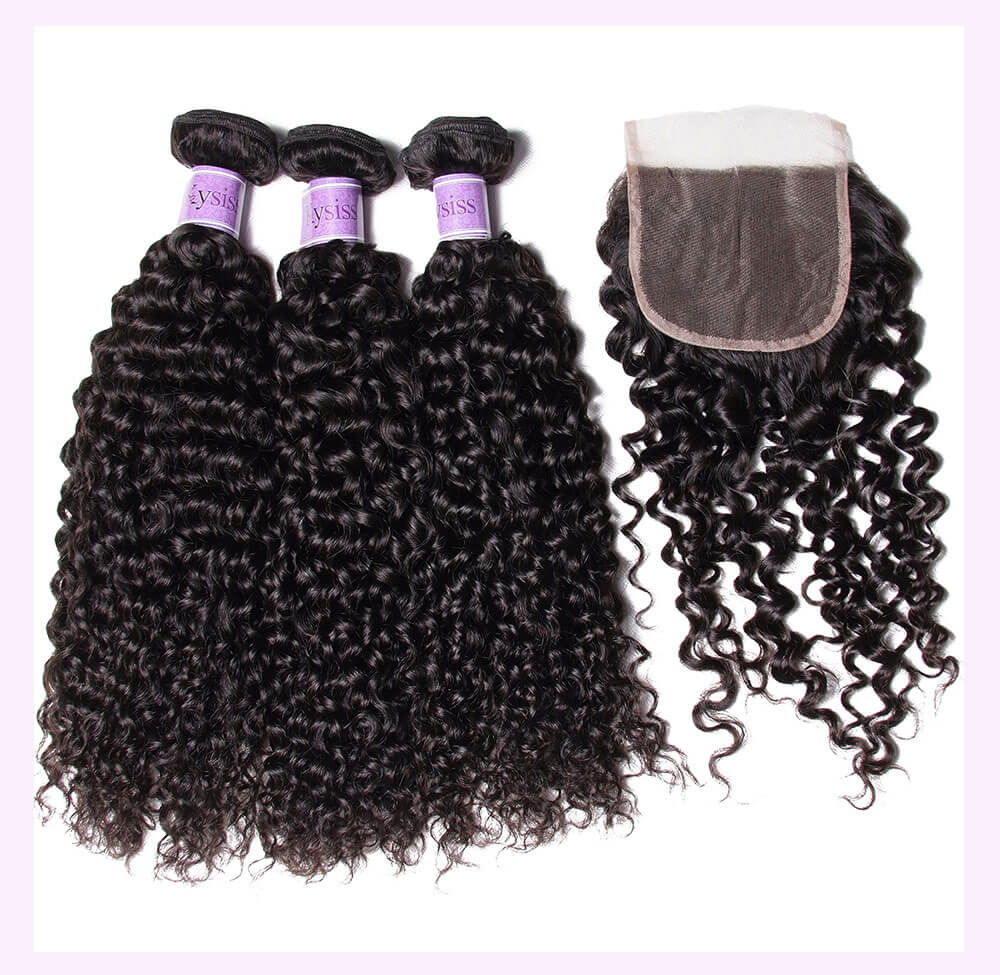 Unice kysiss Peruvian curly hair 3 bundles with lace closure