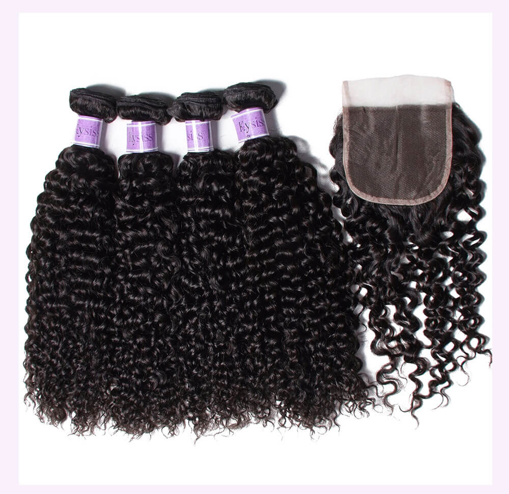 Unice kysiss Brazilian curly hair 3 bundles with lace closure