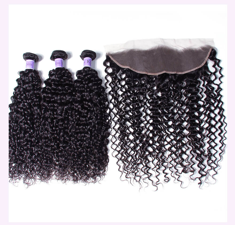 Unice kysiss curly hair 4 bundles with frontal closure