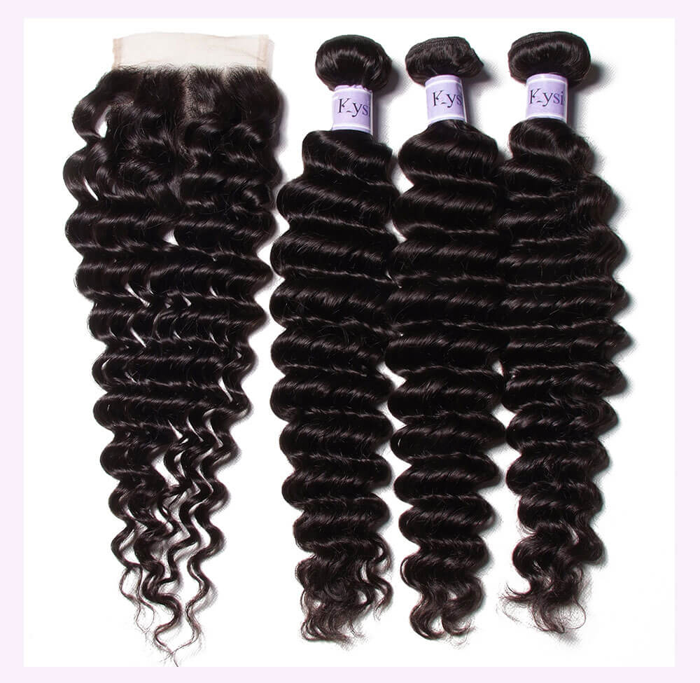Unice kysiss Indian deep wave 3 bundles with lace closure