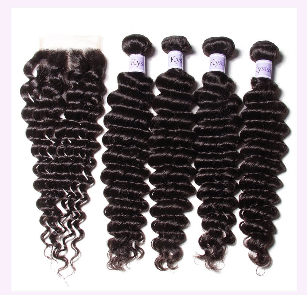 Unice kysiss Brazilian deep wave 4 bundles with lace closure