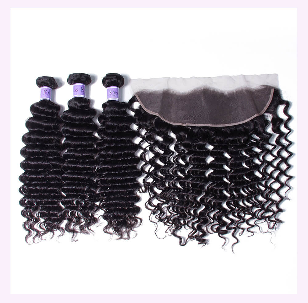 Unice kysiss deep wave 3 bundles with frontal closure