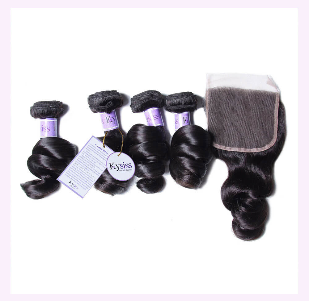 Unice kysiss Brazilian loose wave 4 bundles hair with closure