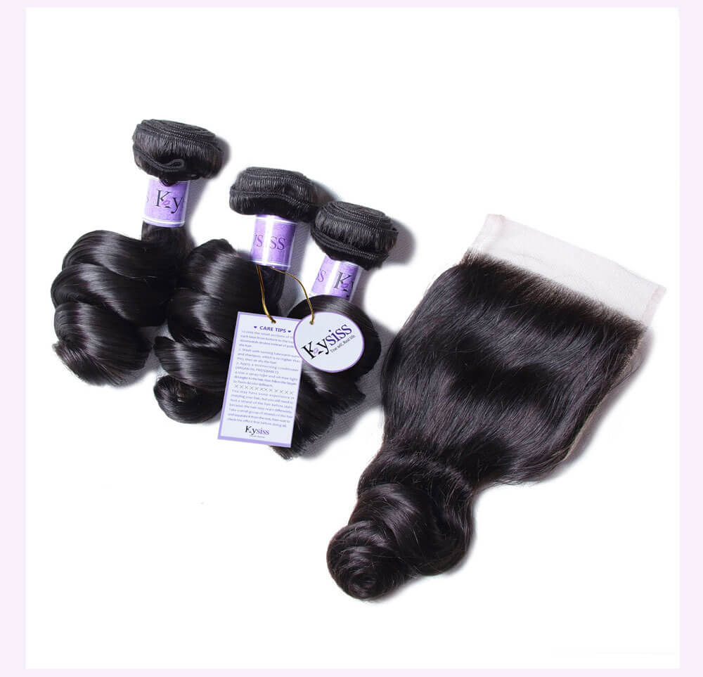 Unice kysiss Indian loose wave 3 bundles hair with closure