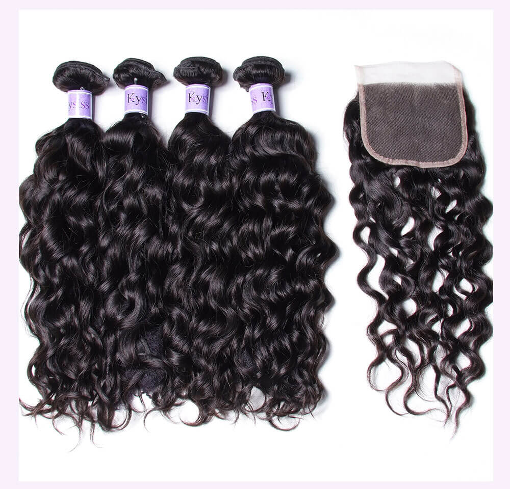Unice kysiss Indian natural wave 3 bundles with lace closure