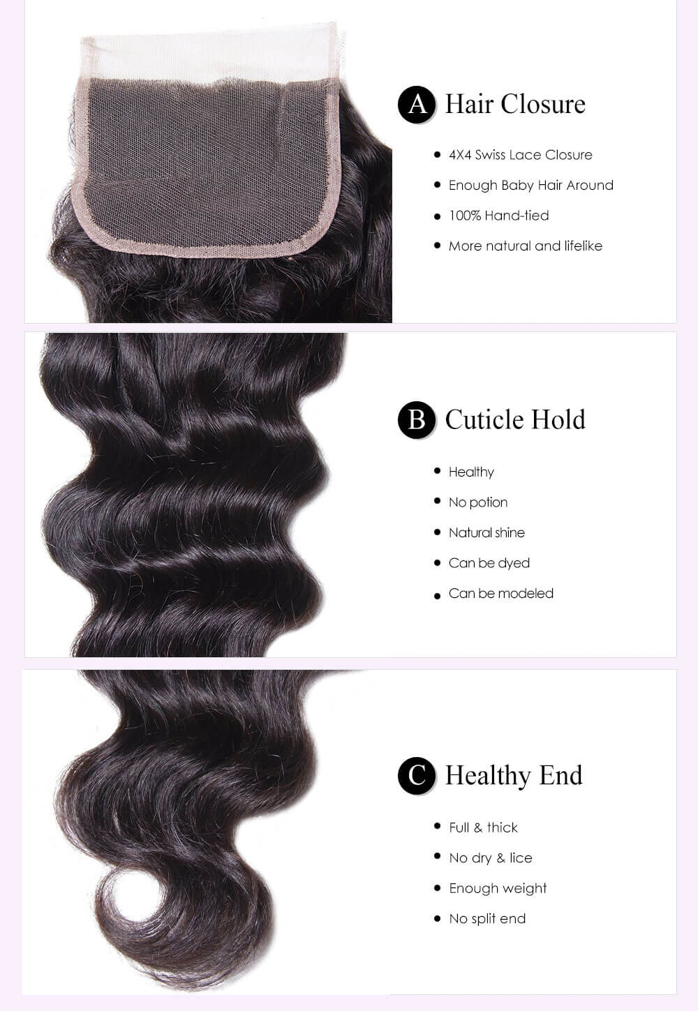Unice kysiss Brazilian natural wave 4 bundles with lace closure