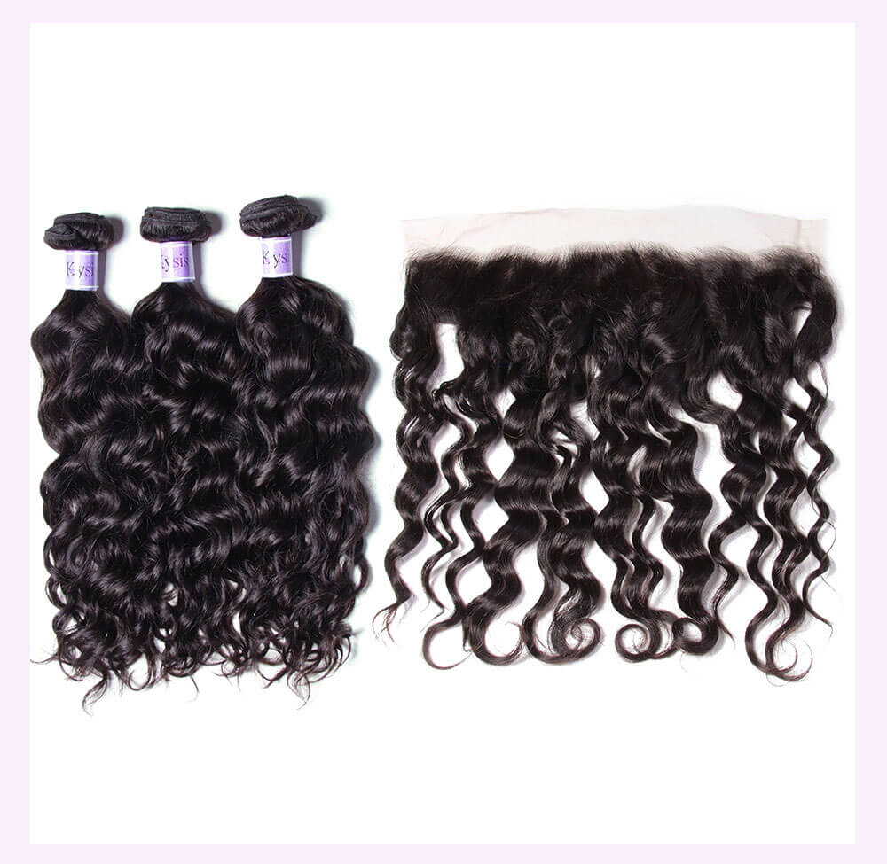 Unice kysiss natural wave 4 bundles with frontal closure