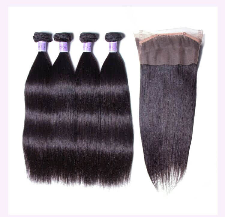 Unice kysiss straight hair 3 bundles hair with 360 frontal