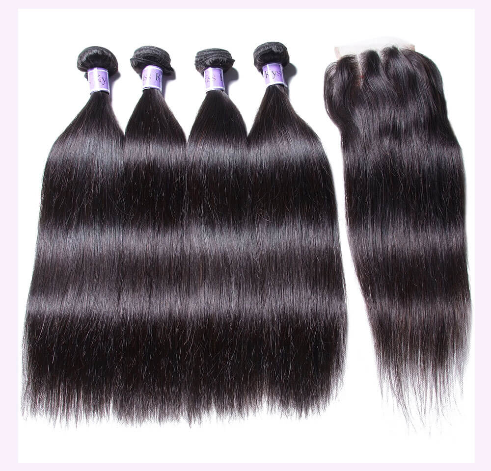 Unice kysiss India straight hair 4 bundles hair with lace closure