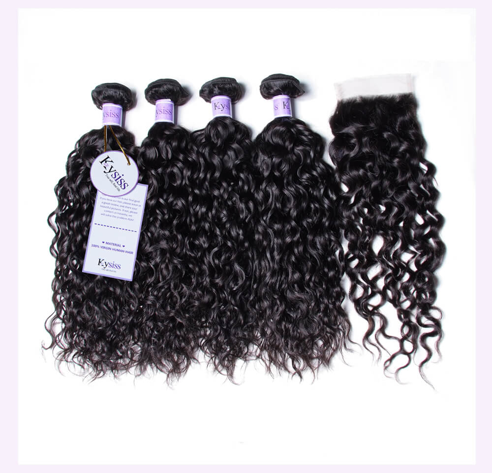 Peruvian Water Wave Hair Weaving With Lace Closure