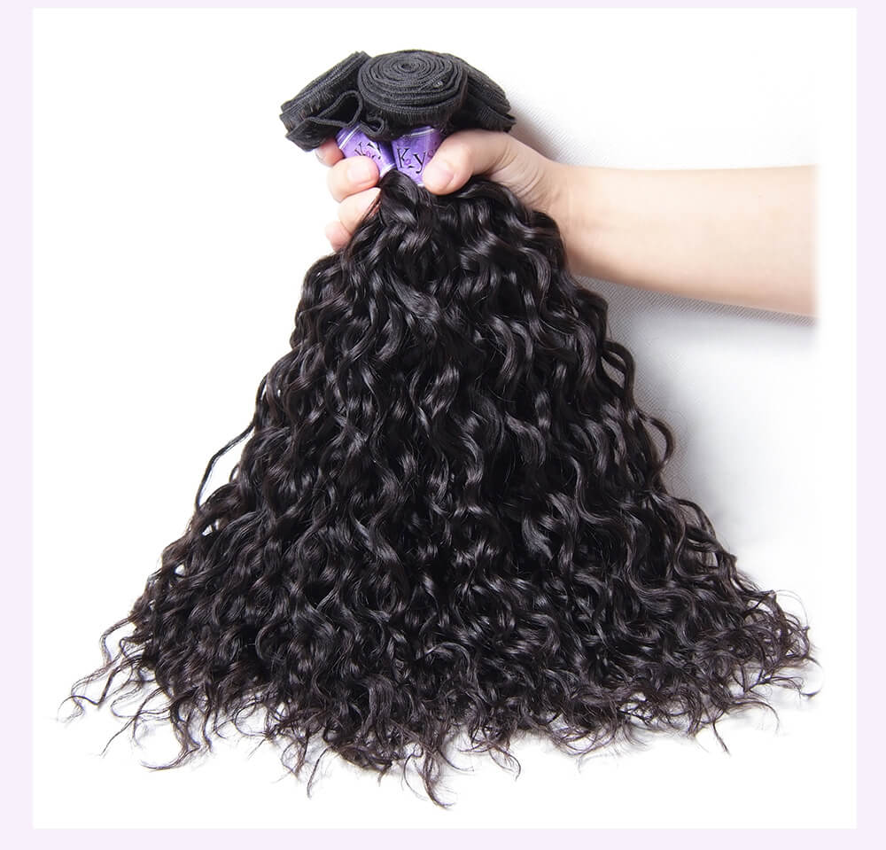 Indian Water Wave 100% Virgian Human Hair With Lace Closure