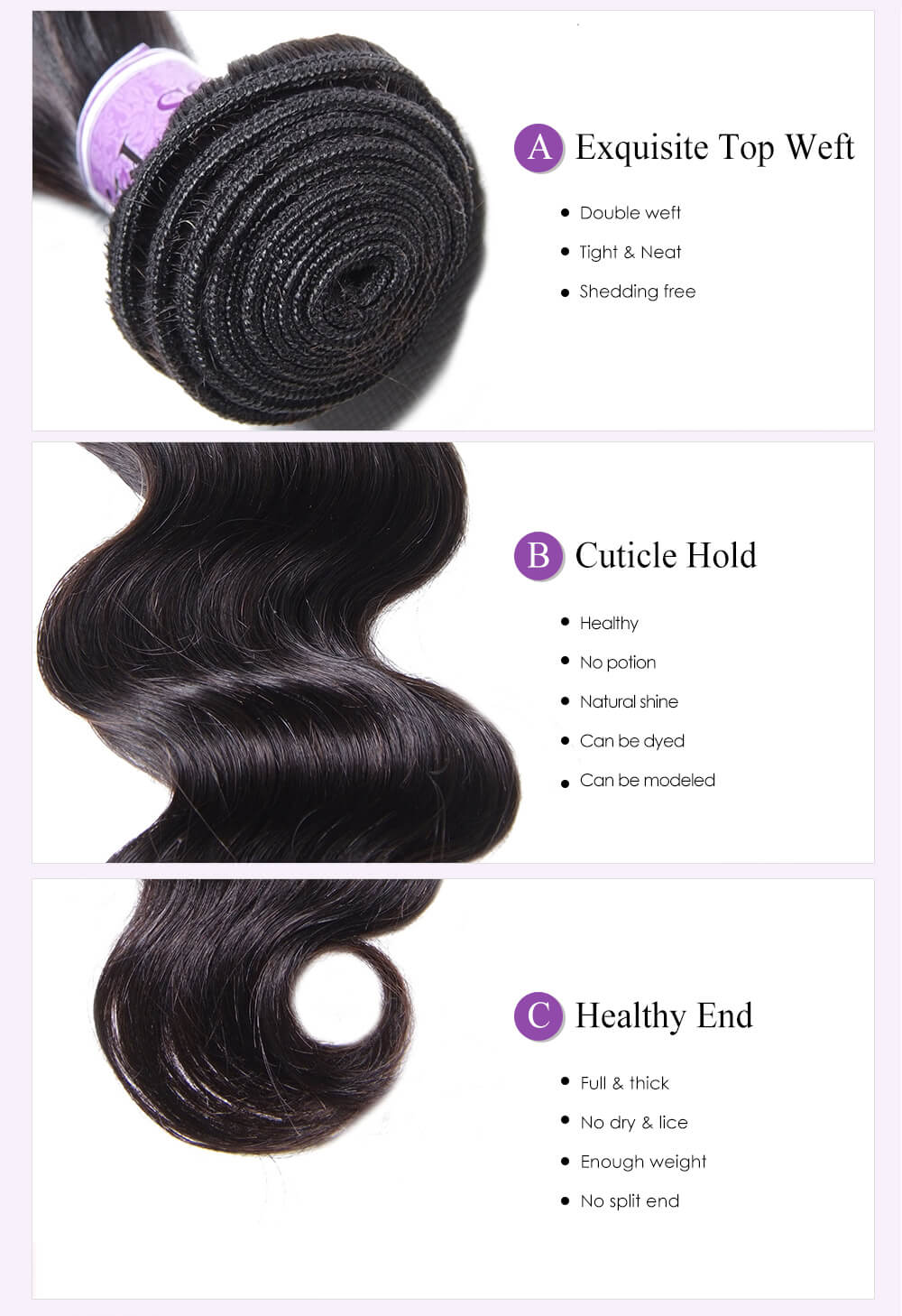 Unice kysiss Peruvian body wave 3 bundles hair