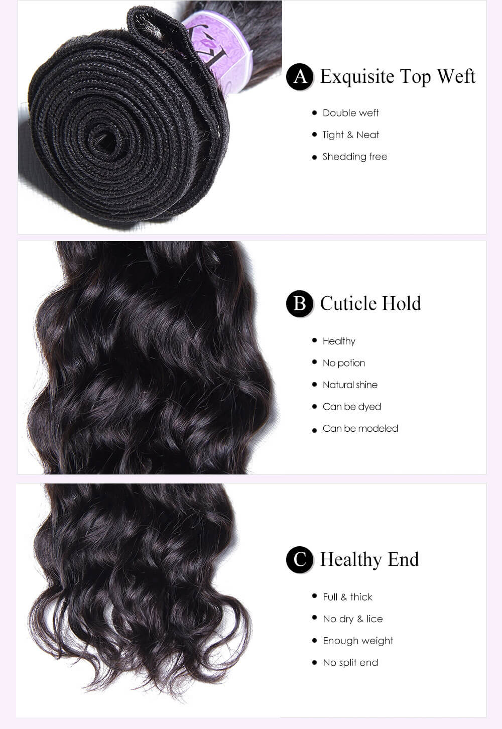 Unice kysiss Indian natural wave 3 bundles hair