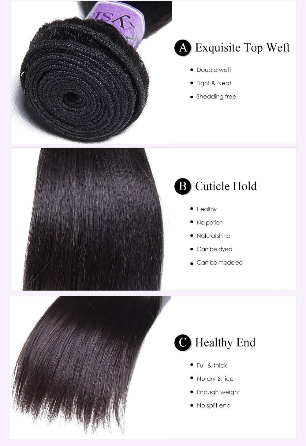 Unice kysiss Peruvian straight hair 3 bundles hair