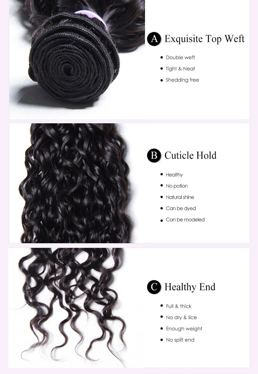 Unice kysiss Indian water wave 3 bundles hair