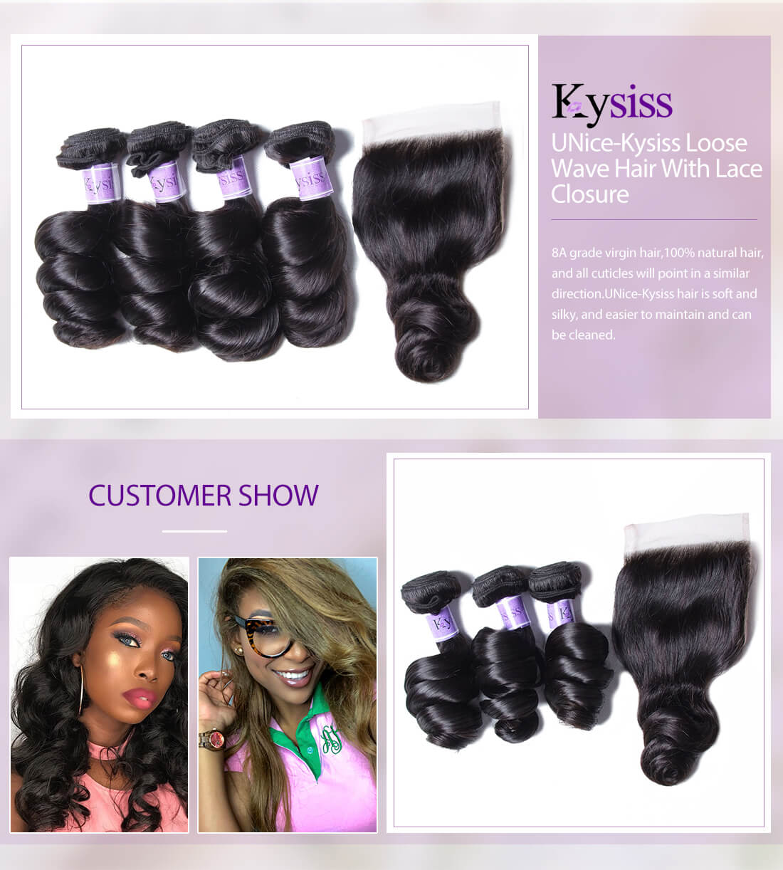 UNice Hair Kysiss Series Loose Wave Hair With Lace Closure