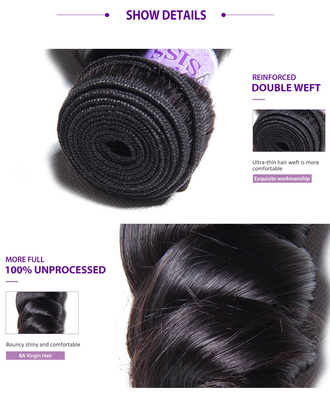 UNice Hair Kysiss Series Loose Wave Hair With Lace Closure Details