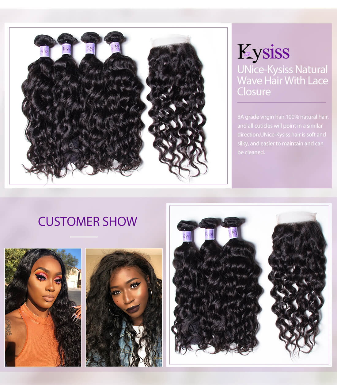 UNice Hair Kysiss Series Natural Wave Hair With Lace Closure