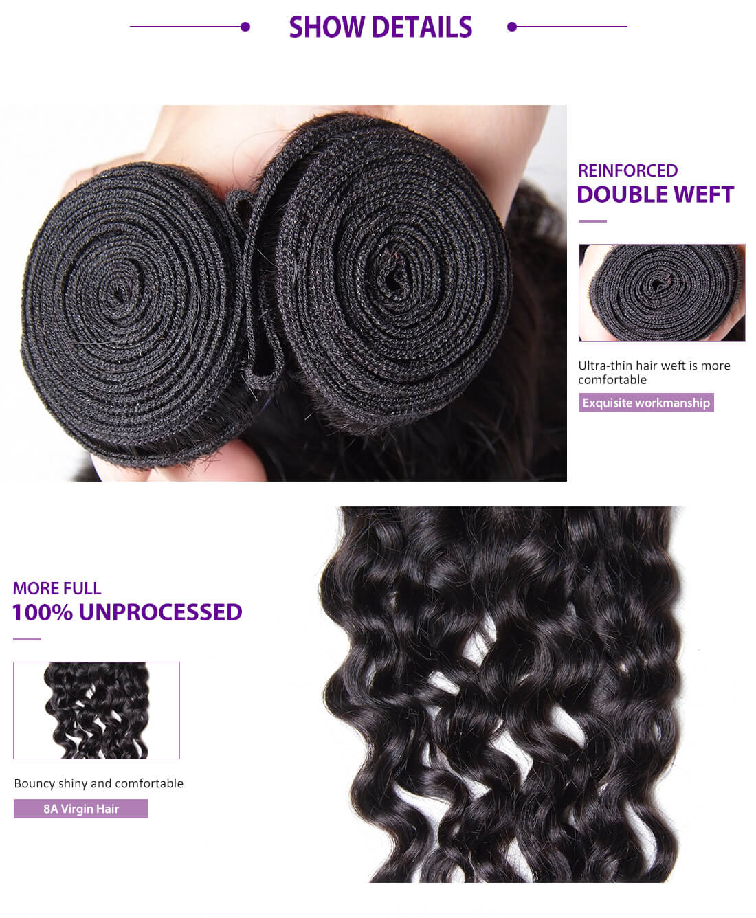 UNice Hair Kysiss Series Natural Wave Hair With Lace Closure Details