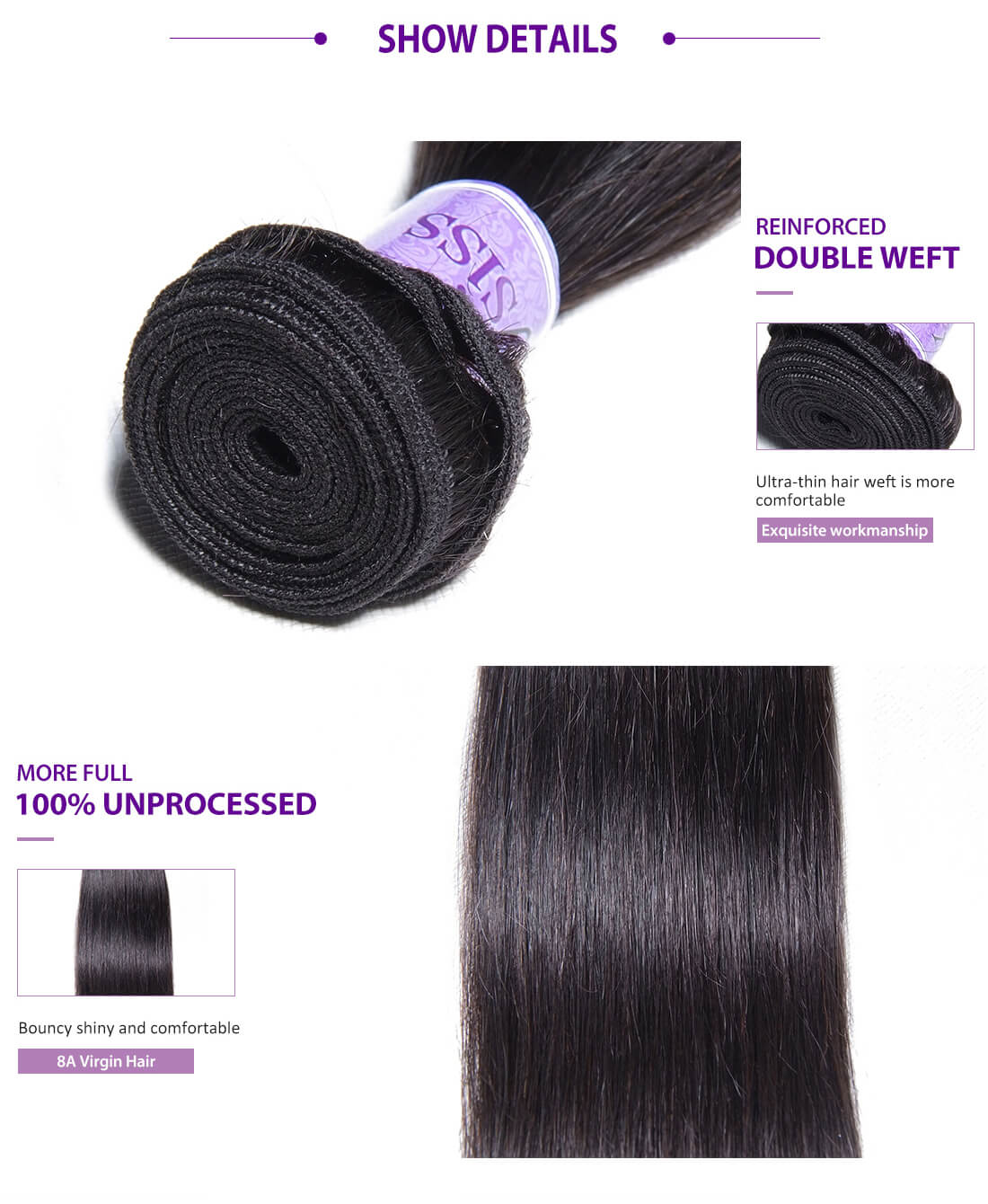 UNice Hair Kysiss Series Straight Hair With Closure Details