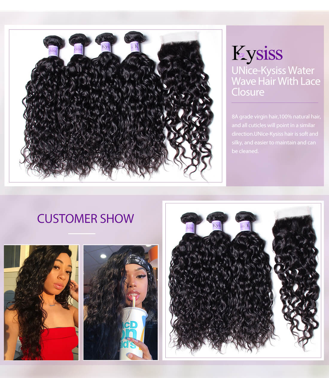 UNice kysiss water wave hair with lace closure