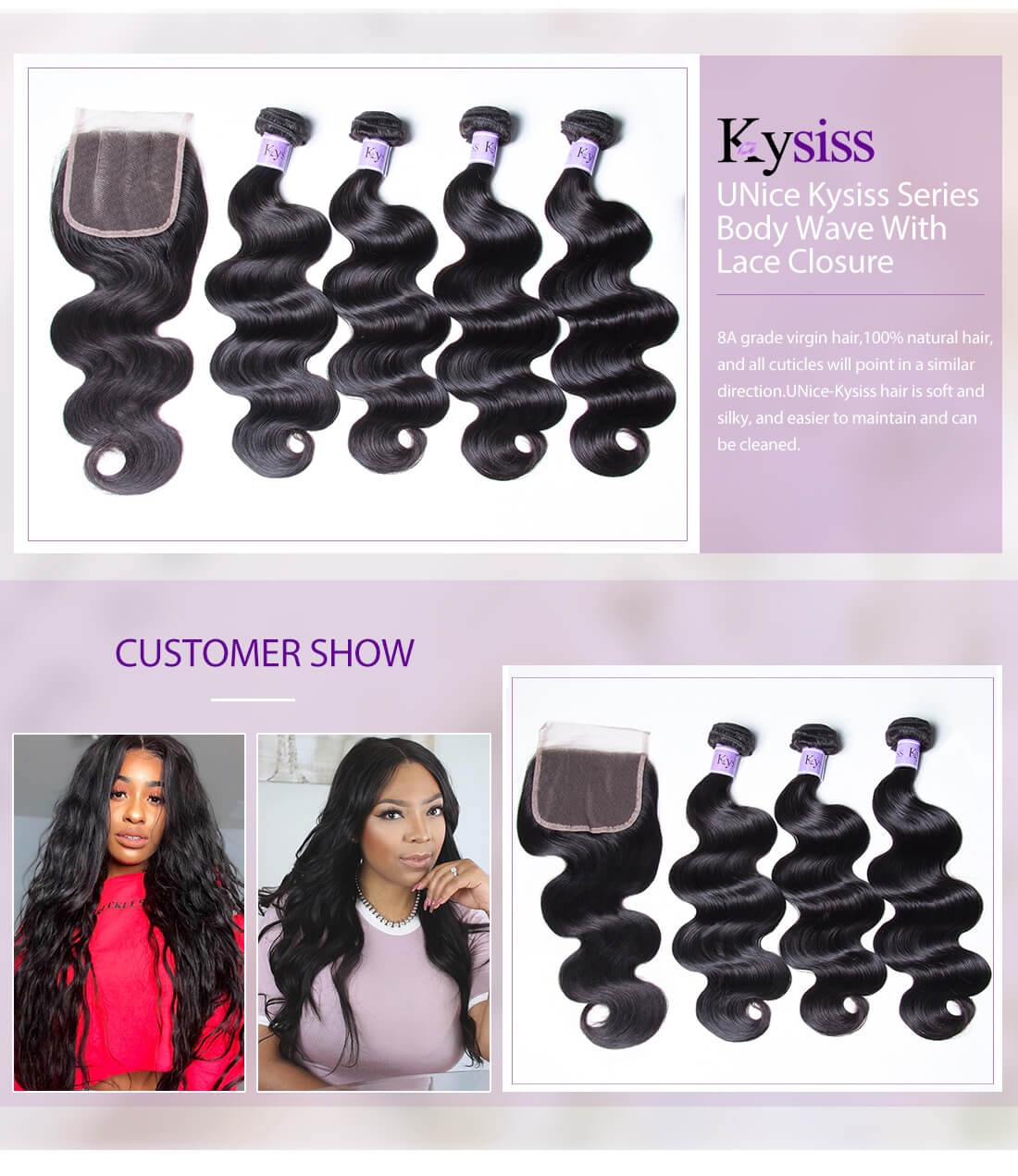 UNice Hair Kysiss Series Body Wave With Lace Closure