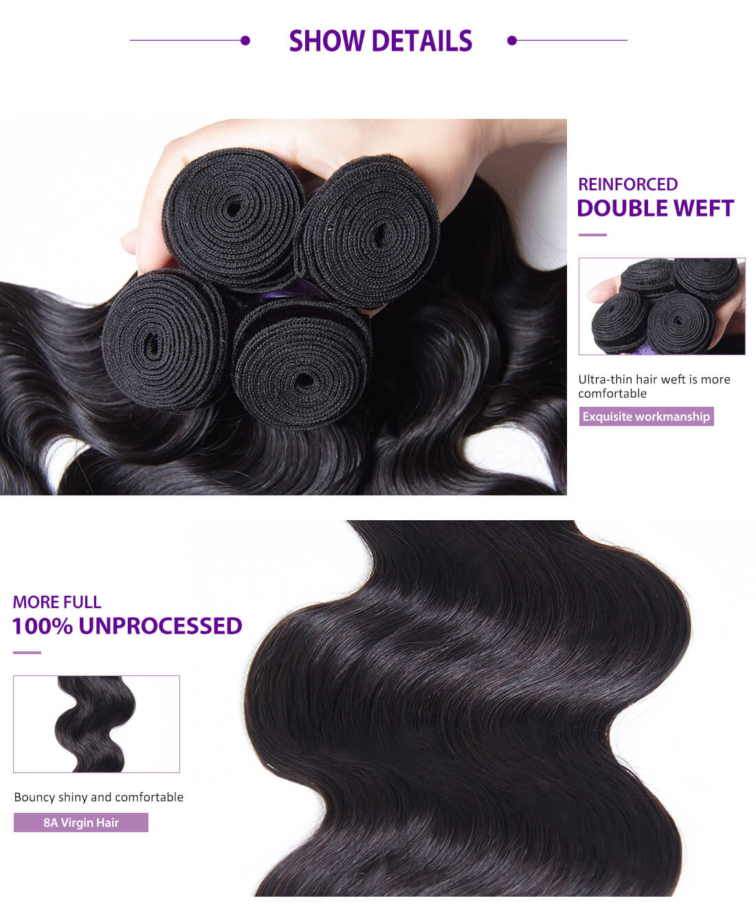 UNice Hair Kysiss Series Body Wave With Lace Closure Details