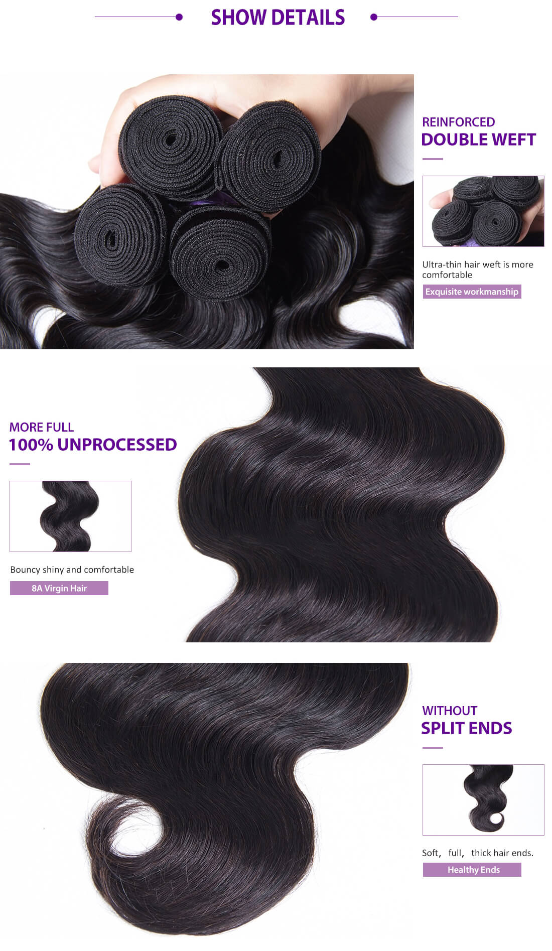 UNice Hair Kysiss Series Body Wave Details
