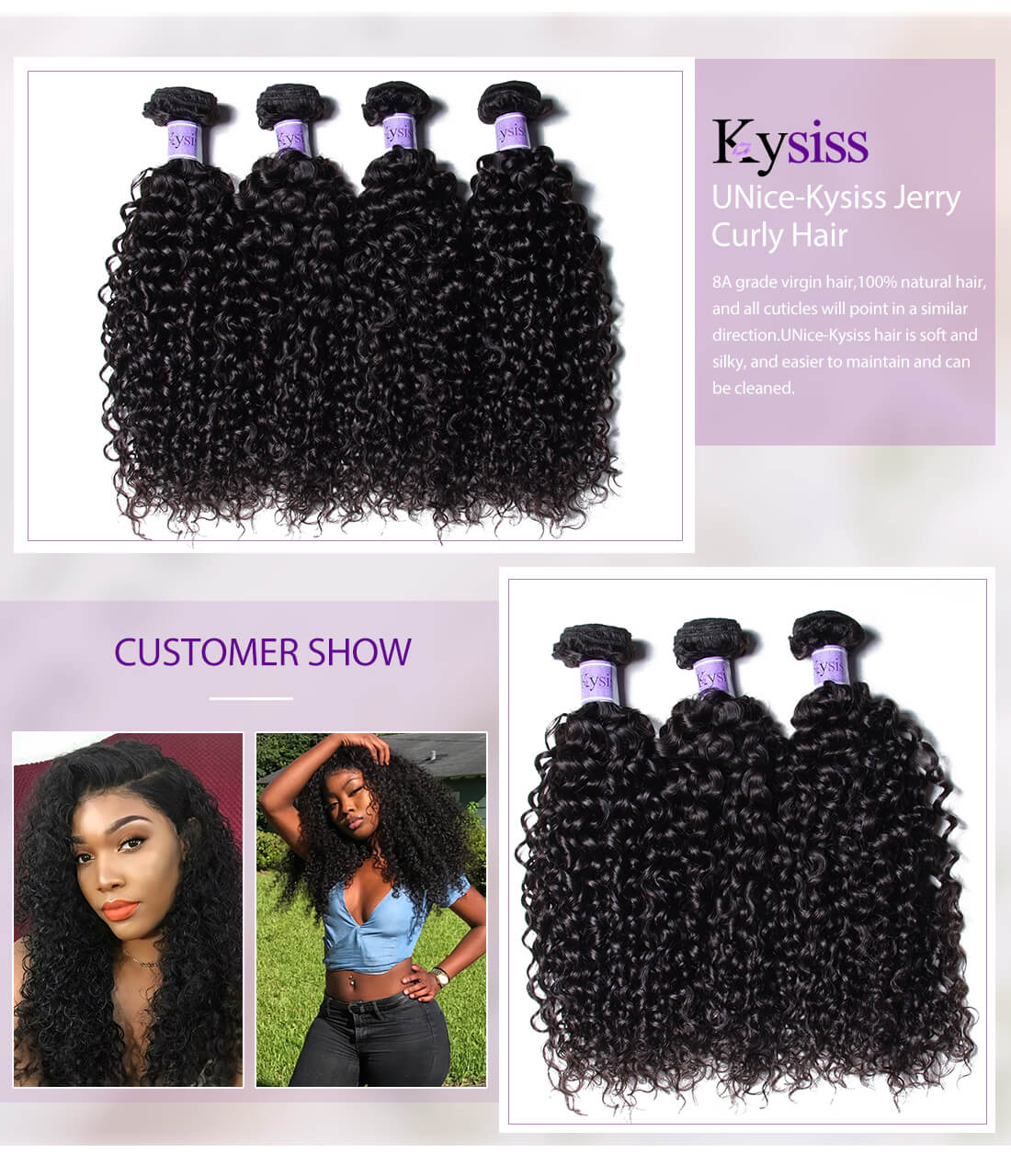 UNice Hair Kysiss Series Jerry Curly Hair