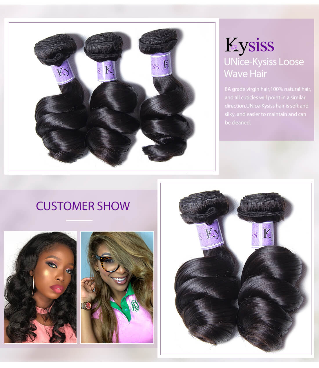 UNice Hair Kysiss Series Loose Wave Hair
