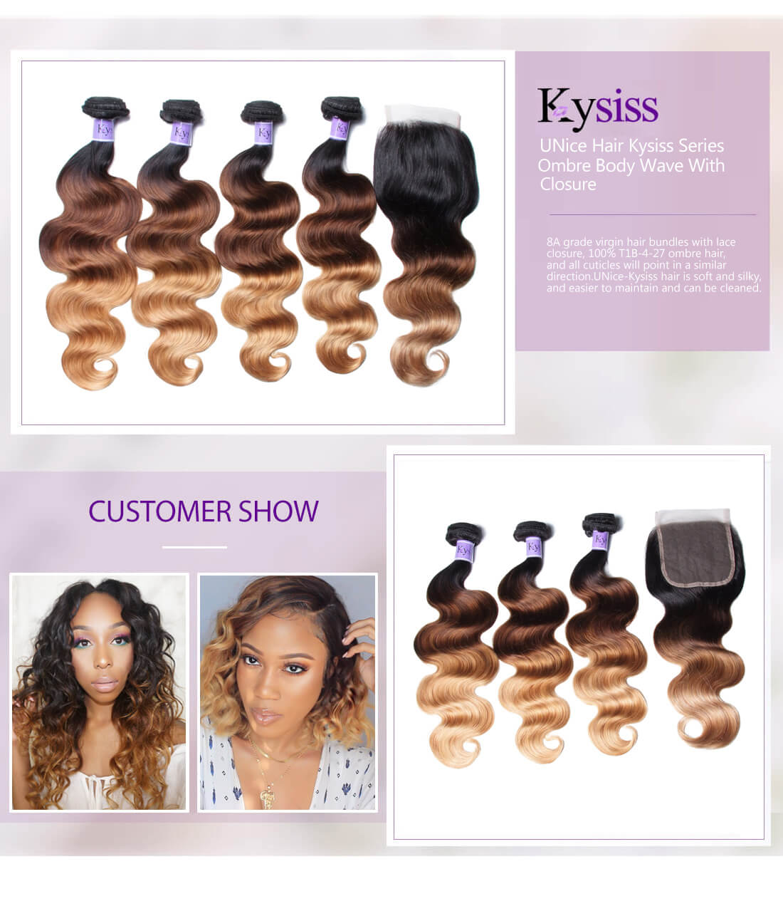 UNice Hair Kysiss Series Ombre Body Wave With Closure