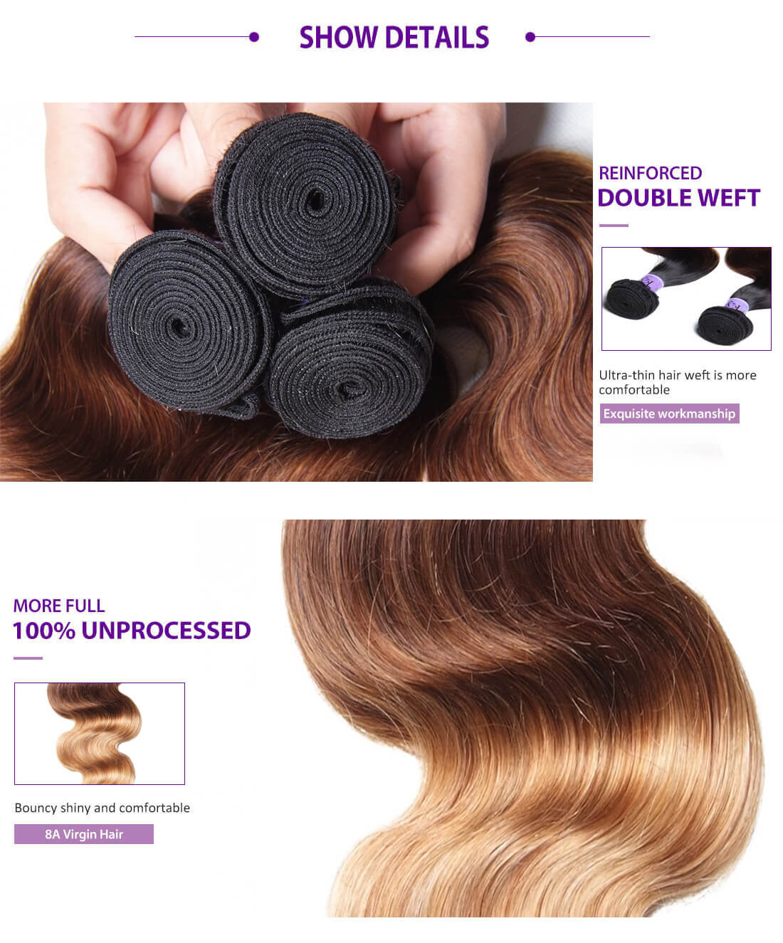 UNice Hair Kysiss Series Ombre Body Wave With Closure Details
