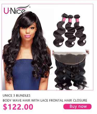 unice 3 bundles body wave hair with lace frontal hair closure.