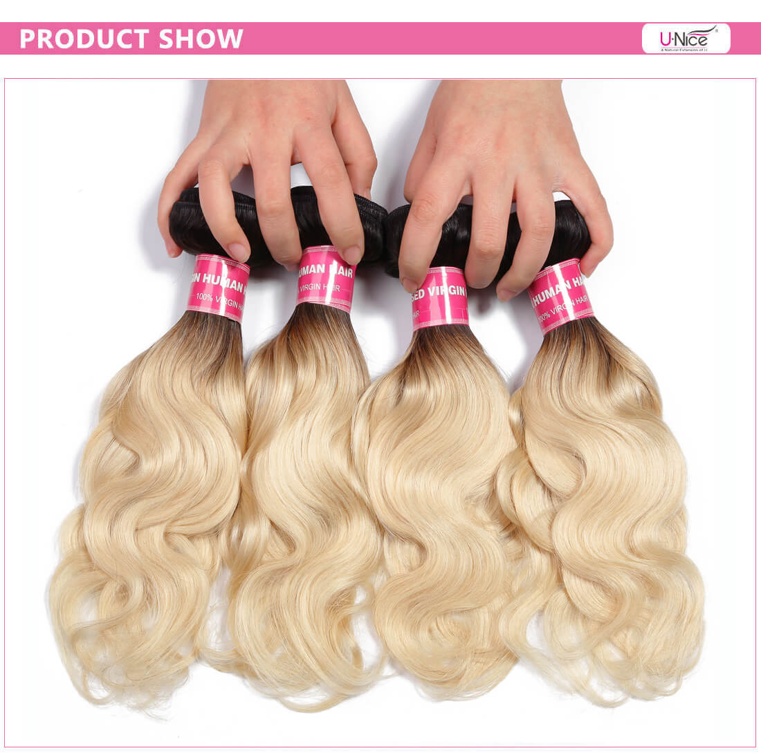 Ombre Blonde Hair Body Wave Hair Weave
