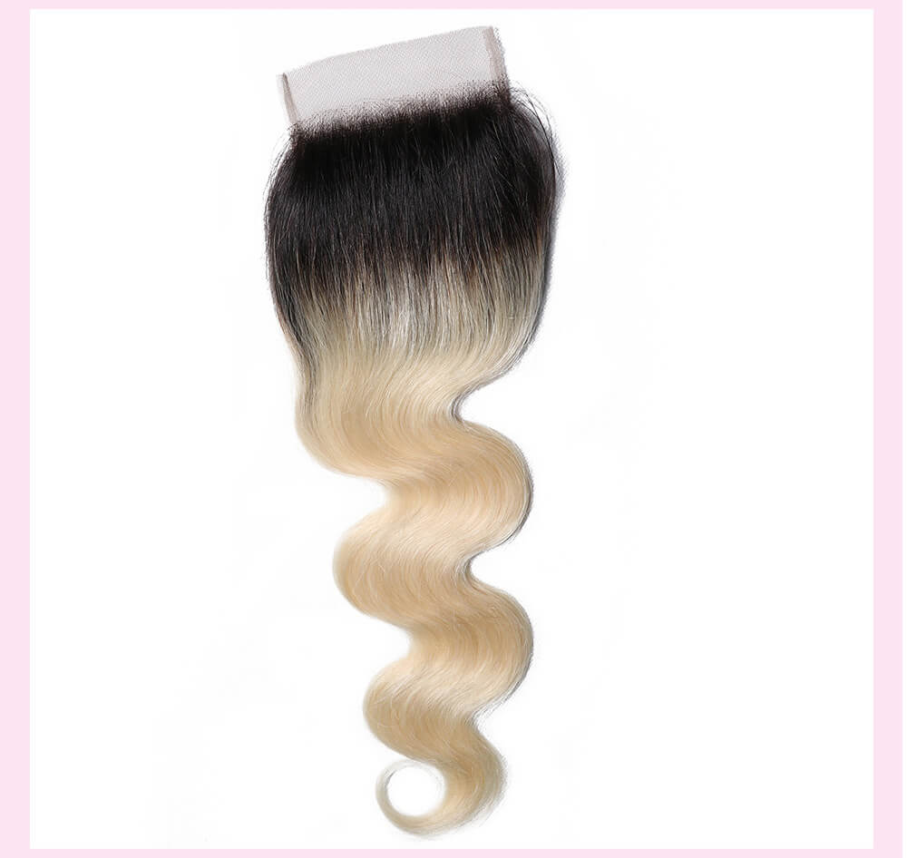 UNice Hair 1B/613 Body Wave 4x4 Lace Closure 100% Virgin Hair
