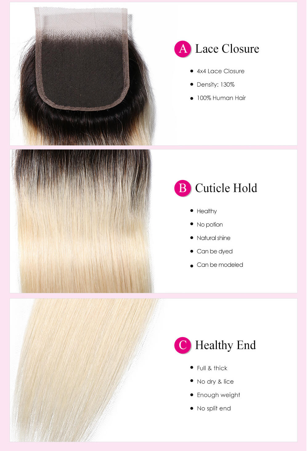 UNice Straight Hair 1B/613 Blonde Ombre Human Hair Free Part 4*4 Lace Closures