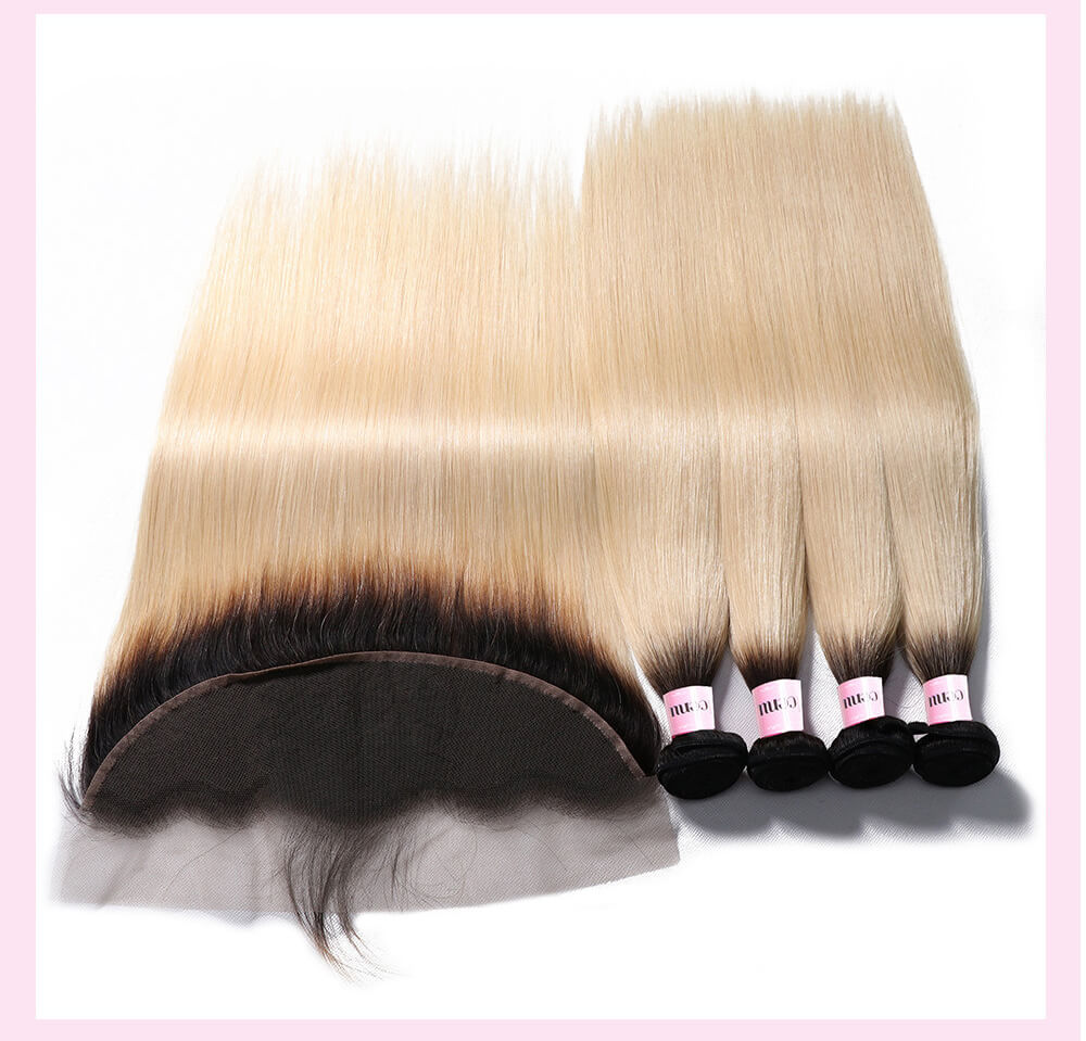 UNice 3 Bundles Ombre T1B/613 Blonde Straight Hair Bundles With 13*4 Ombre Lace Frontal Closure