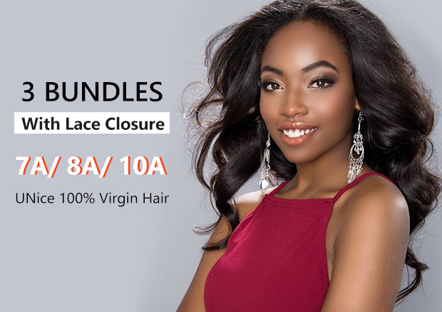 UNice 100% Virgin Hair 3 Bundles with Lace Closure