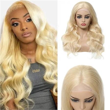 Long Blonde Body Wave Human Hair Wigs
