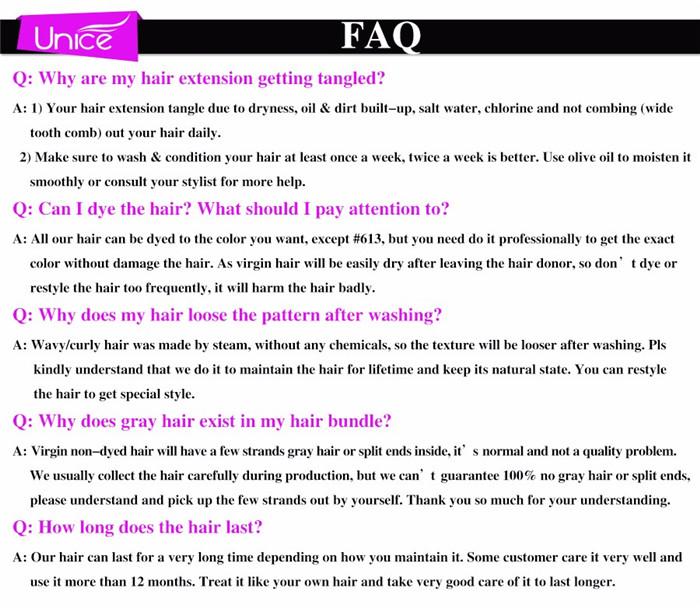 faq about unice hair