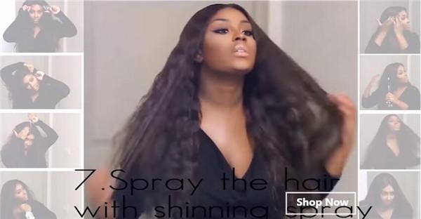 Spray the hair with shinning spray