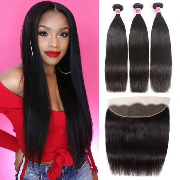 Straight human hair bundles